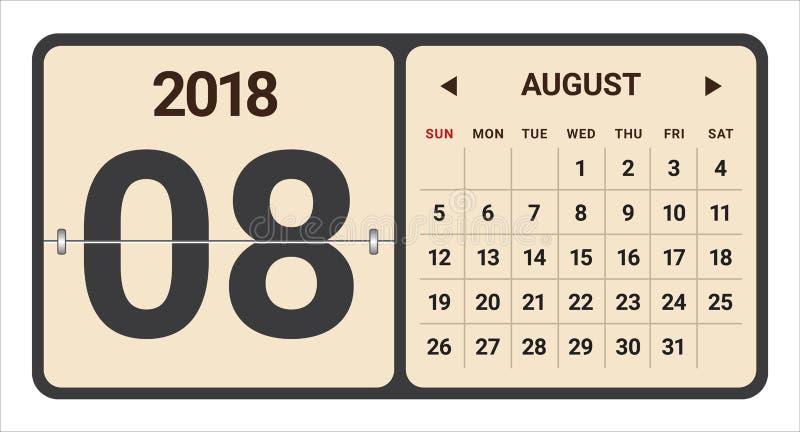 Août 2018 illustration de vecteur de calendrier illustration libre de droits