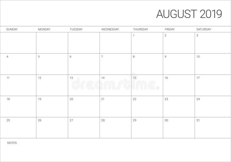 Août 2019 illustration de vecteur de calendrier de bureau illustration libre de droits