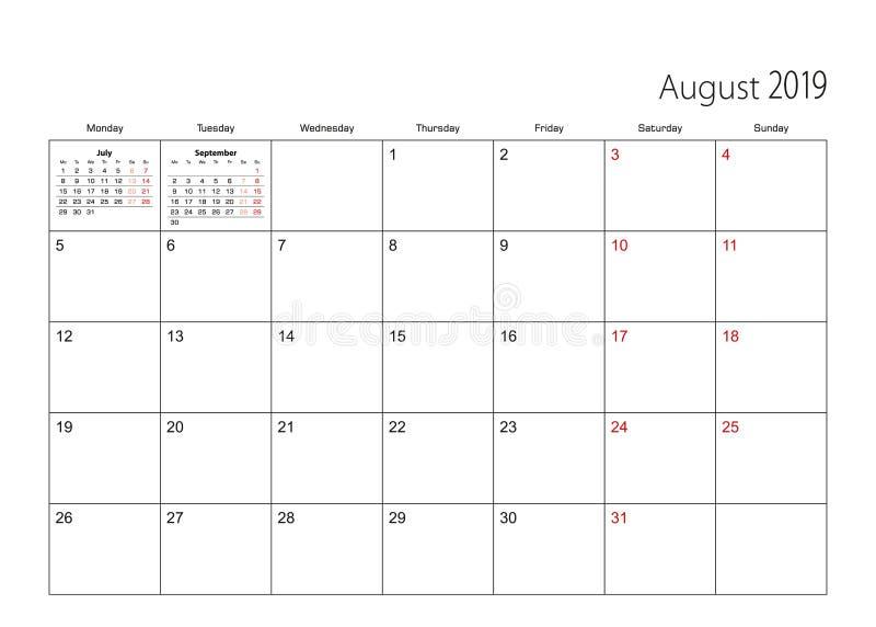 Août 2019 planificateur simple de calendrier, débuts de semaine du lundi illustration libre de droits