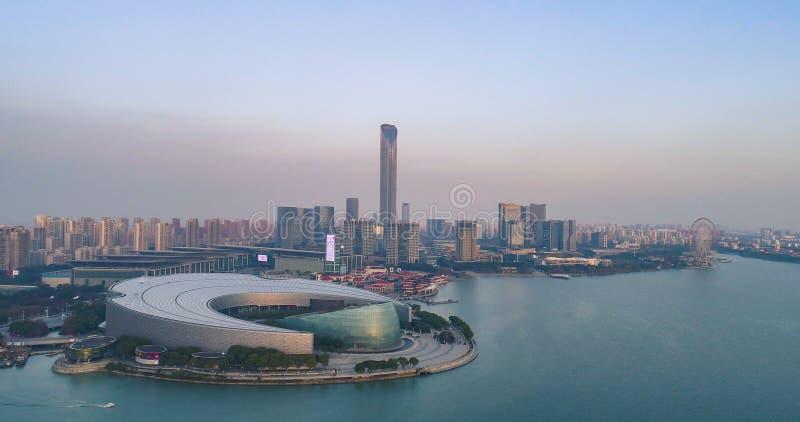 14 août 2018 Ville de Suzhou, Chine La vue aérienne de bourdon de la culture de Suzhou et les arts centrent photographie stock