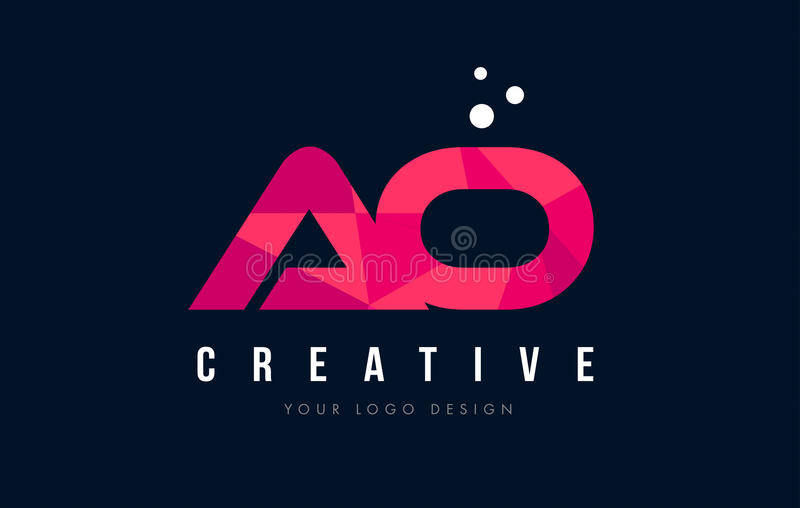 AO与紫色低多桃红色三角概念的一个O信件商标 库存例证