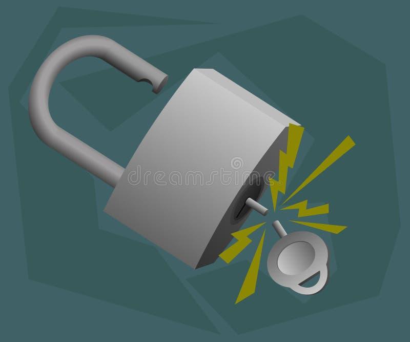 Ao abrir a chave do cadeado quebrada assim ilustração do vetor