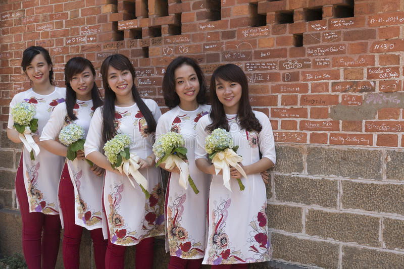Ao Dai Vietnamese national costume. The áo dài is a Vietnamese national costume, now most commonly worn by women. In its current form, it is a tight royalty free stock photos