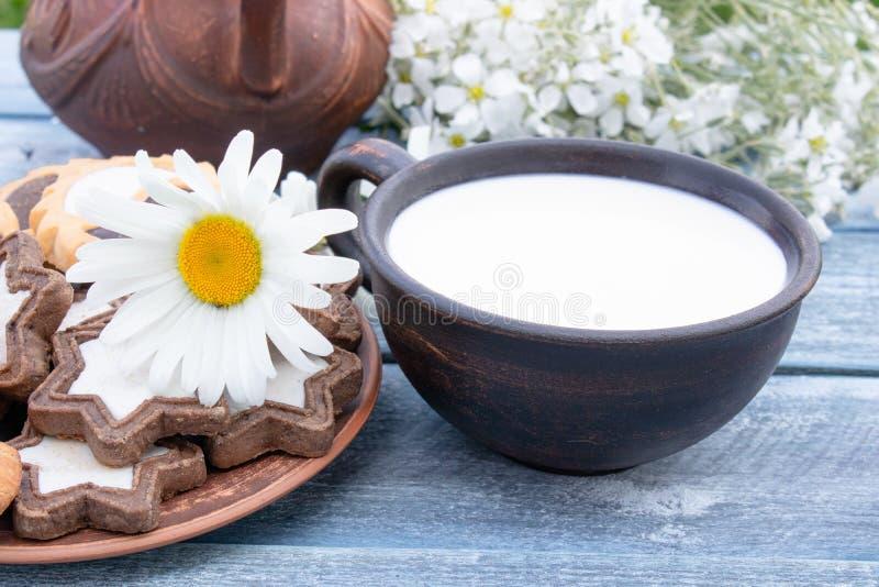 Ao lado das cookies e das flores da camomila perto do jarro é um copo do leite fotografia de stock