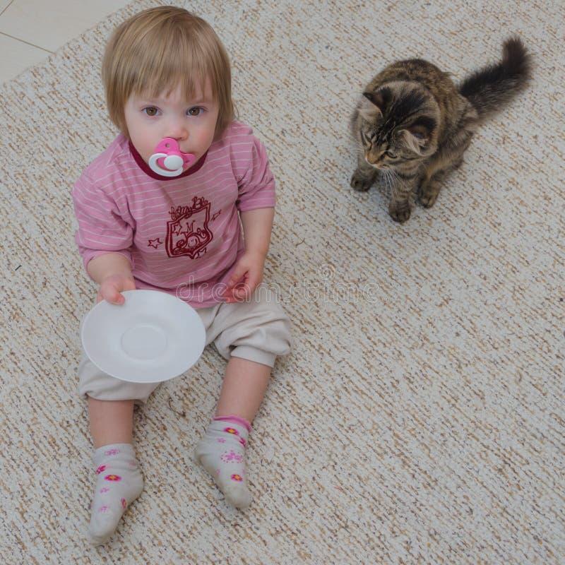Ao lado do gato no assoalho senta uma criança, a menina quer à taxa fotografia de stock royalty free