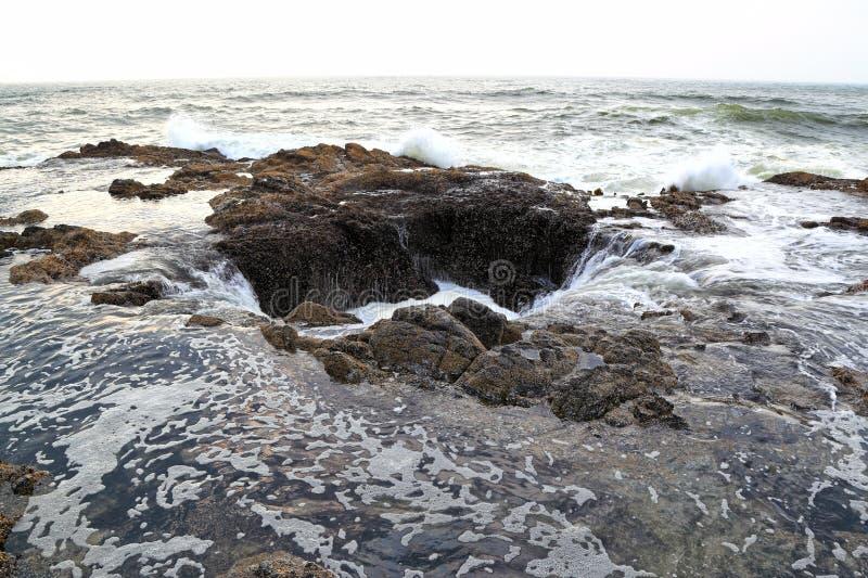 Ao longo da costa de Oregon: Poço do ` s do Thor foto de stock