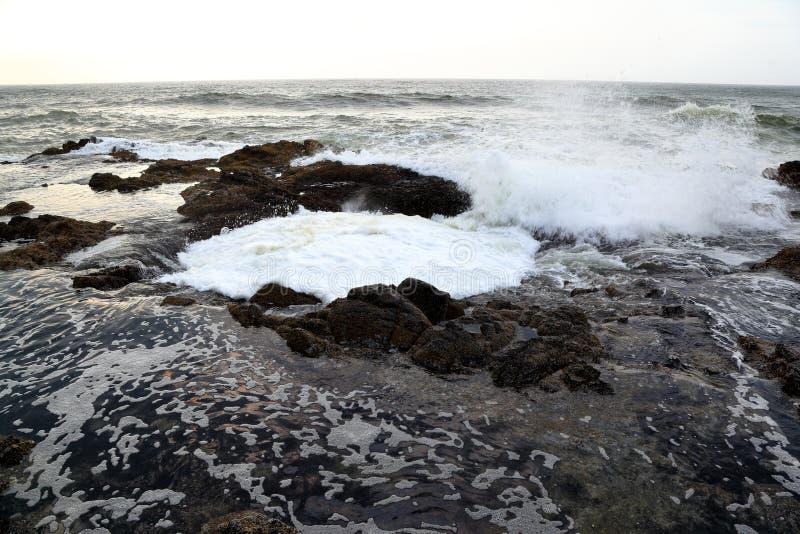 Ao longo da costa de Oregon: Poço do ` s do Thor imagem de stock