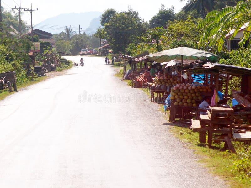 Ao longo da rua da estrada principal entre províncias de LUANG PRABANG e de VANG VIENG imagens de stock royalty free