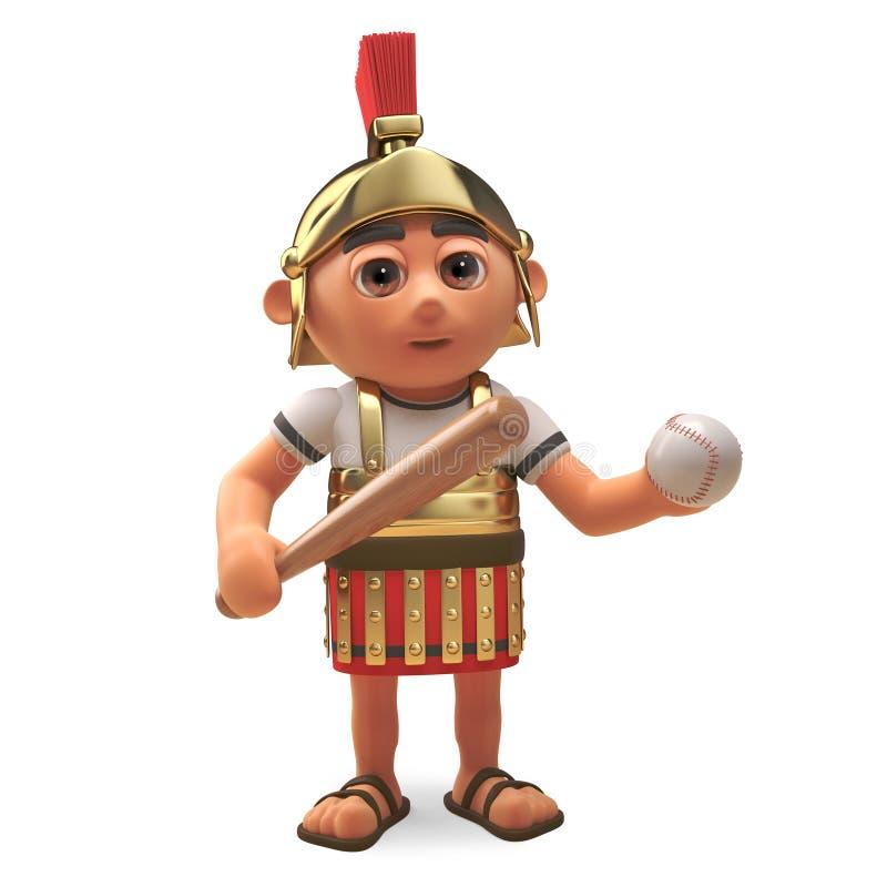 Ao não marchar, o soldado romano do centurion gosta de um jogo do basebol com seus amigos, ilustração 3d ilustração stock