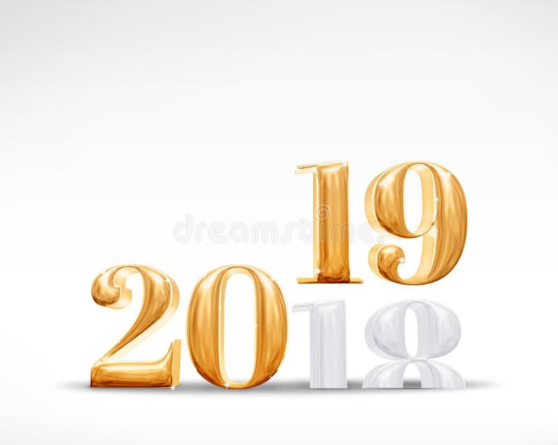 2019 ao número 3d do ano novo rendição dourada da mudança 2018 no whi ilustração stock