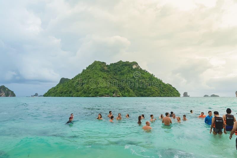 AO NANAG , THAILNAD-AUG 16, 2019: Ao Nana Island traveler playing sea ocean at Krabi province royalty free stock image