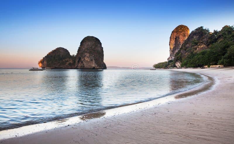 Ao nang海滩, Railay,甲米府,最佳的海滩在Thailan 免版税图库摄影