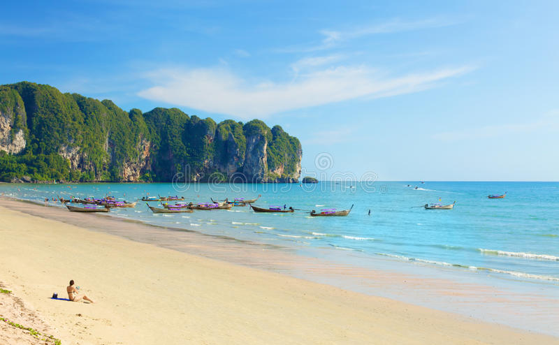 Ao Nang Beach. With boats, in Krabi, Thailand stock photography