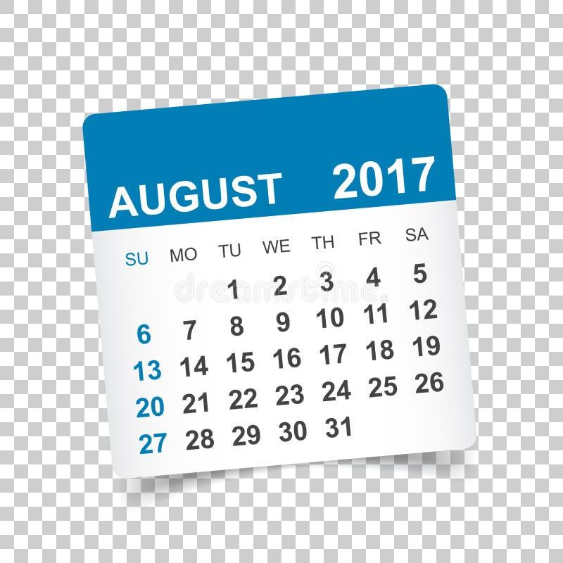 Août 2017 calendrier illustration libre de droits