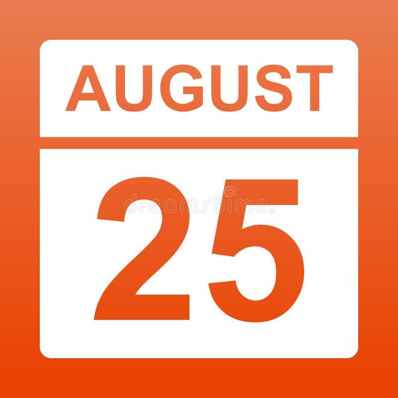 25 ao?t Calendrier blanc sur un fond color? Jour sur le calendrier Vingt-cinquième du fond rouge auguste avec le gradient illustration libre de droits
