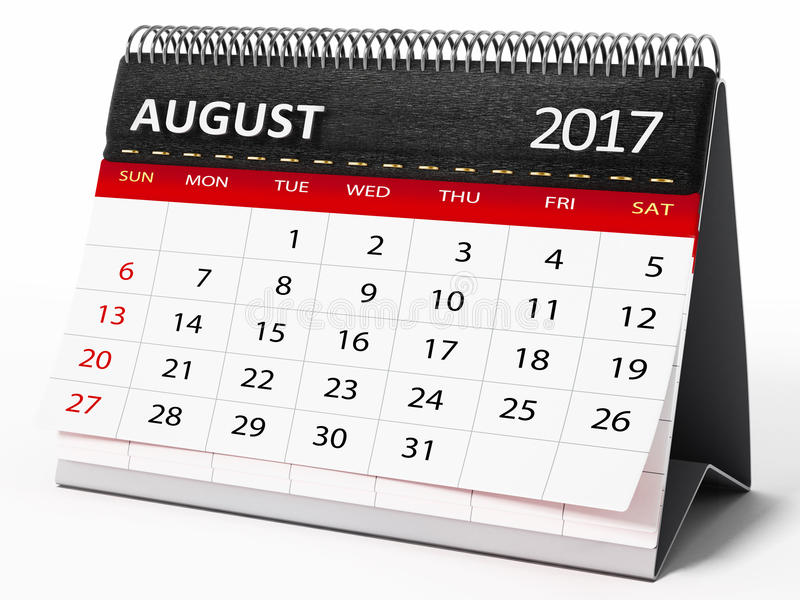 Août 2017 calendrier de bureau illustration 3D illustration de vecteur
