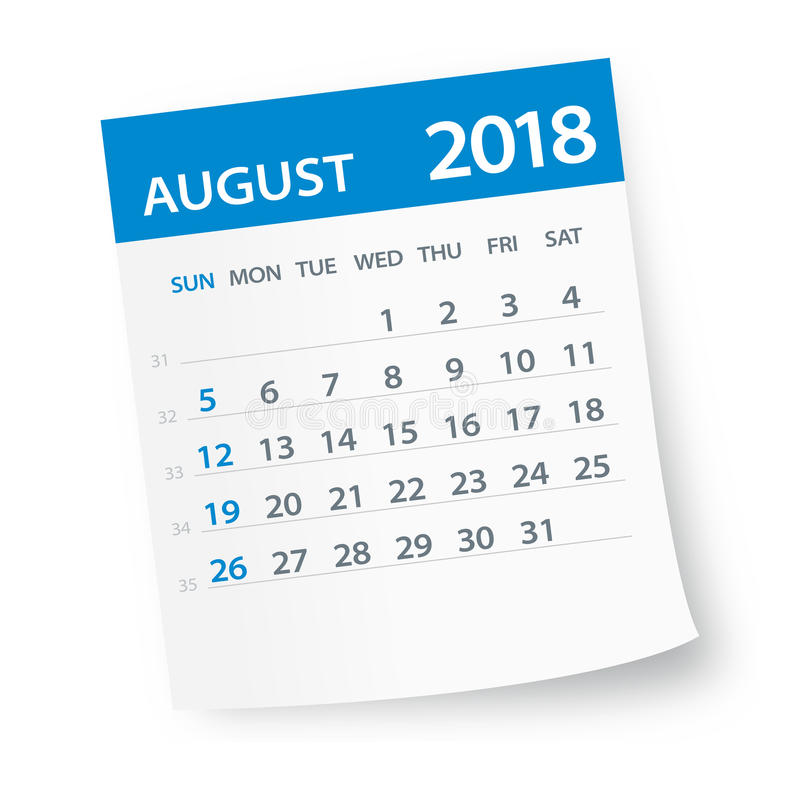Août 2018 feuille de calendrier - illustration illustration libre de droits