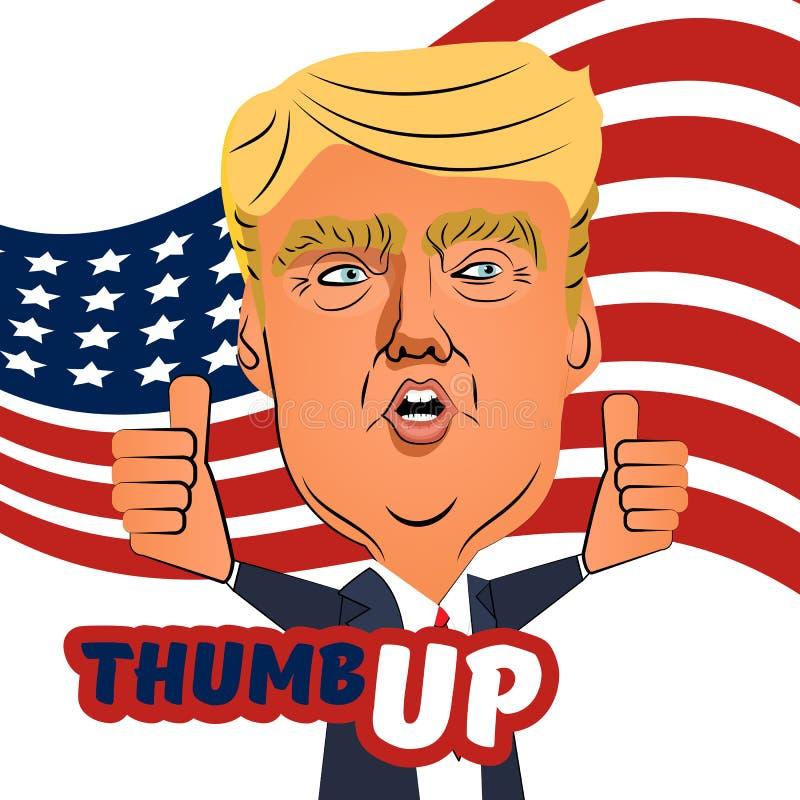 3 août 2016 pouce de Donald Trump vers le haut de bande dessinée illustration libre de droits
