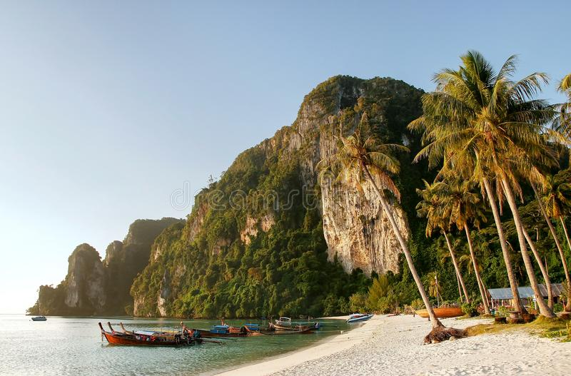 Ao Ton Sai beach on Phi Phi Don Island, Krabi Province, Thailand. Koh Phi Phi Don is part of a marine national park royalty free stock image