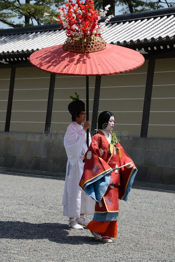 Aoi Matsuri (het festival van de Stokroos) royalty-vrije stock afbeelding
