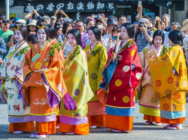 Aoi Matsuri in Kyoto Japan lizenzfreie stockfotos