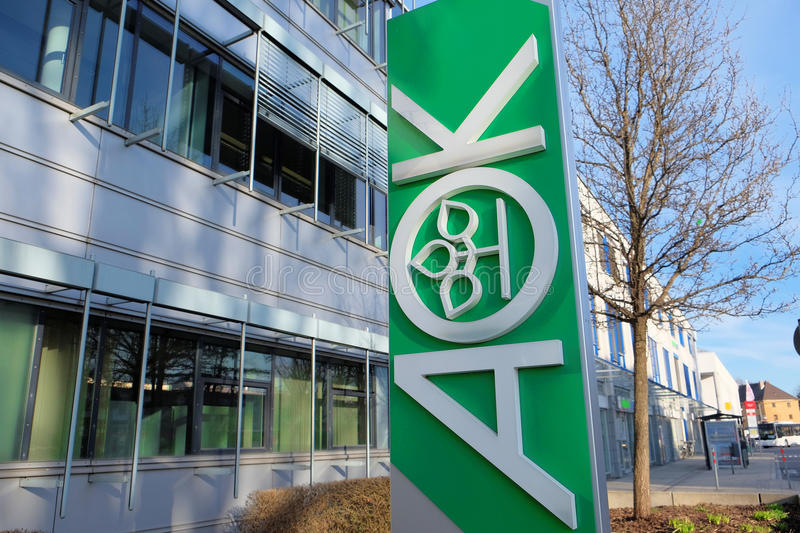 AOK. Sign outside of one of the offices of the german health insurance AOK royalty free stock images