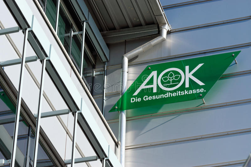 AOK. Sign outside of one of the offices of the german health insurance AOK royalty free stock photos
