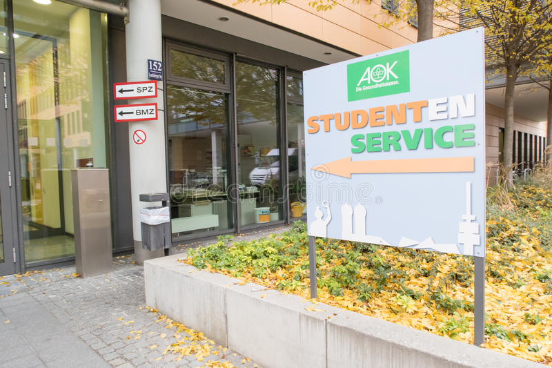 AOK Studenten Service. Sign infront of the AOK health insurance student affairs office in munich royalty free stock photography