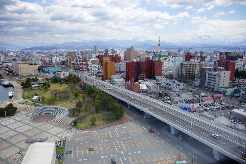 Aomori, Japon, vue de ville d'en haut images libres de droits