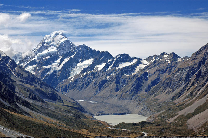 Aoraki,库克山国家公园,新西兰 免版税库存照片