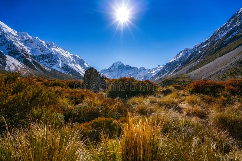 Aoraki Mount Cook and Valley Track, South Island, New Zealand stock photos