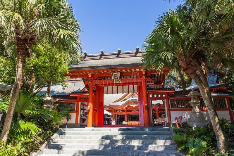 Aoshima, JAPÃO - 27 de agosto: Jinja de Aoshima, um sh xintoísmo colorido imagem de stock royalty free