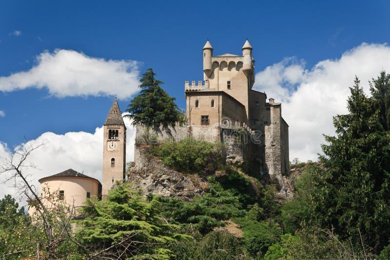 aosta城堡意大利皮埃尔圣徒 免版税图库摄影
