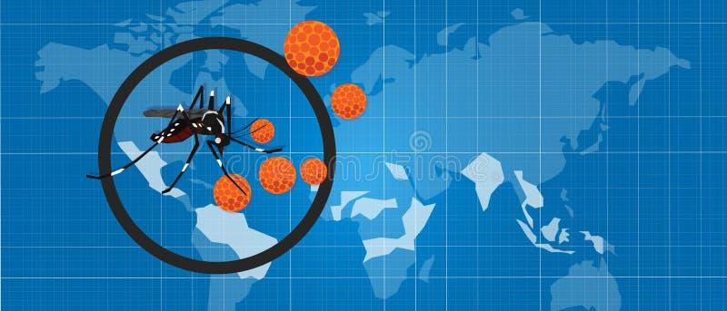 Aotubreak för pandemi för spridning för aegypti för aedes för masquito för Zika zicavirus stock illustrationer