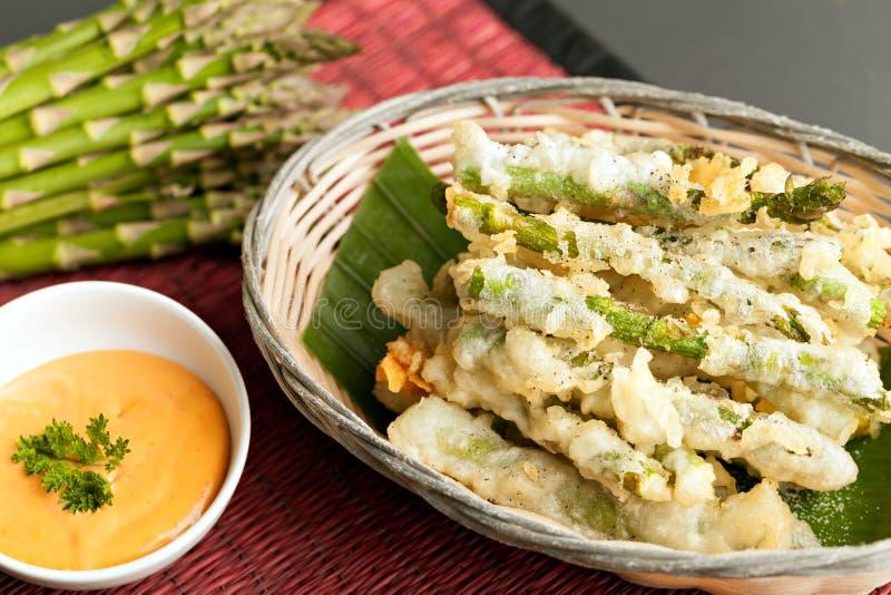 Apéritif thaïlandais d'asperge de Tempura image stock