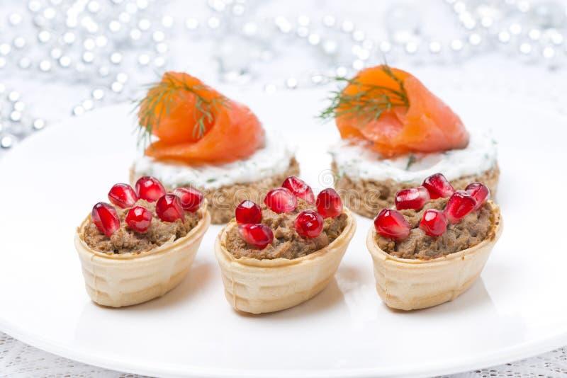 Apéritifs de vacances - canape avec les saumons, tartelette avec le pâté de foie photographie stock libre de droits