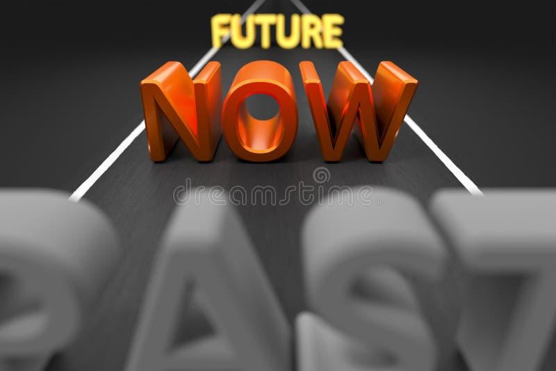 Após agora o futuro em uma estrada ilustração do vetor