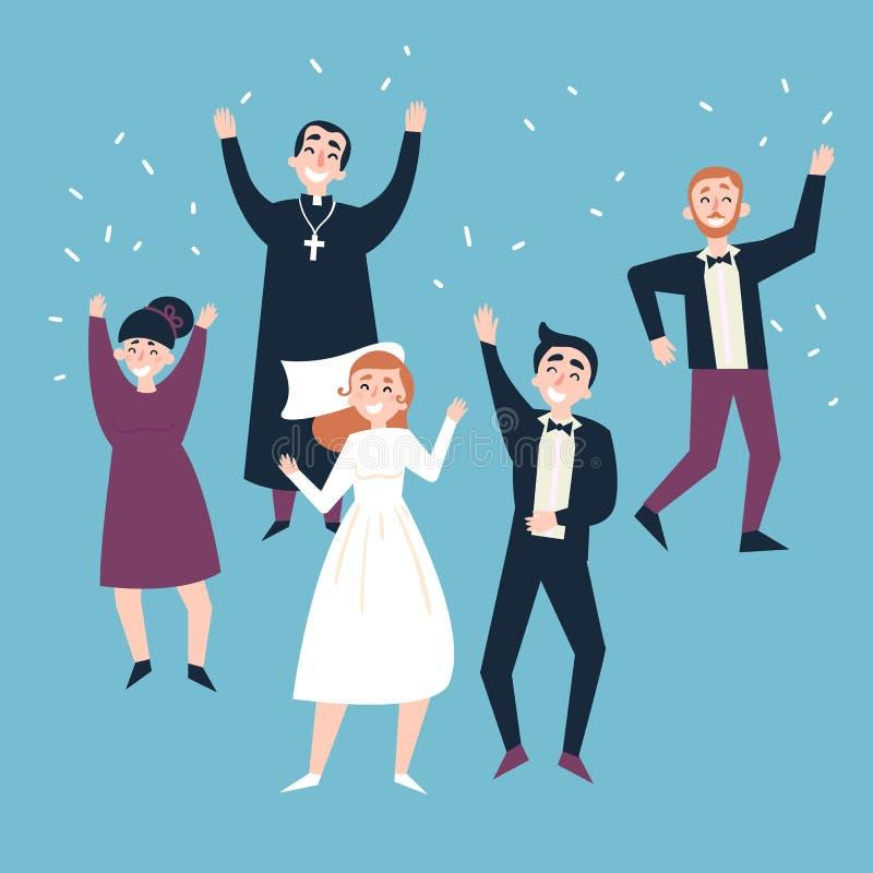 Após a cerimônia de casamento Noiva, noivo e convidados ilustração do vetor
