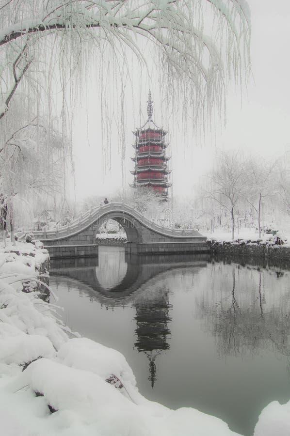 Após a neve Wan Shan Tower imagens de stock