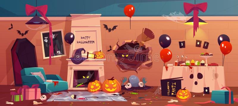 Após o partido a confusão em Dia das Bruxas decorou a sala, ilustração stock
