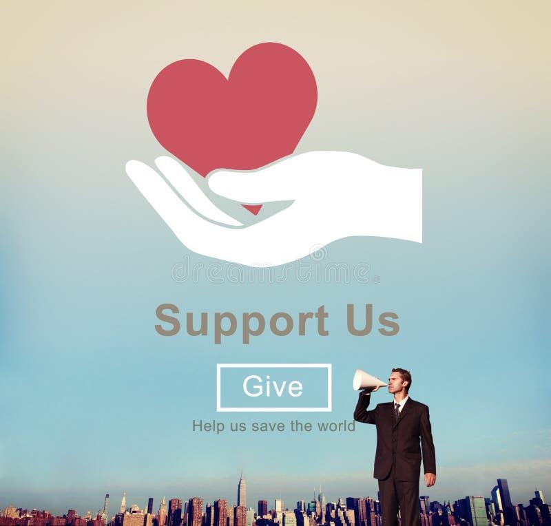Apóyenos el concepto voluntario de las donaciones del bienestar foto de archivo