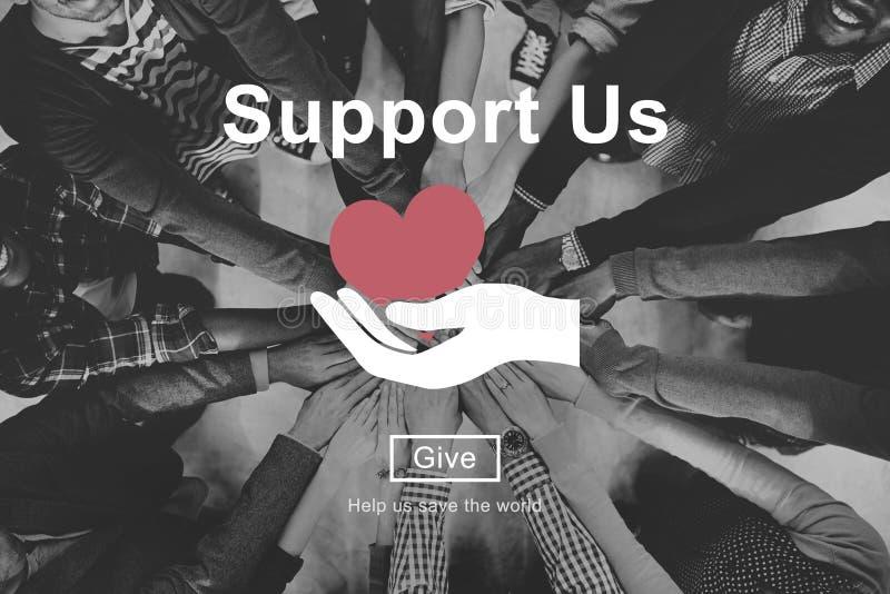 Apóyenos el concepto voluntario de las donaciones del bienestar imágenes de archivo libres de regalías