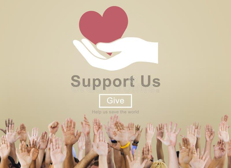 Apóyenos el concepto voluntario de las donaciones del bienestar imagen de archivo libre de regalías