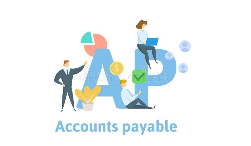 AP, кредиторская задолженность Концепция с ключевыми словами, письмами и значками Плоская иллюстрация вектора белизна изолированн иллюстрация вектора