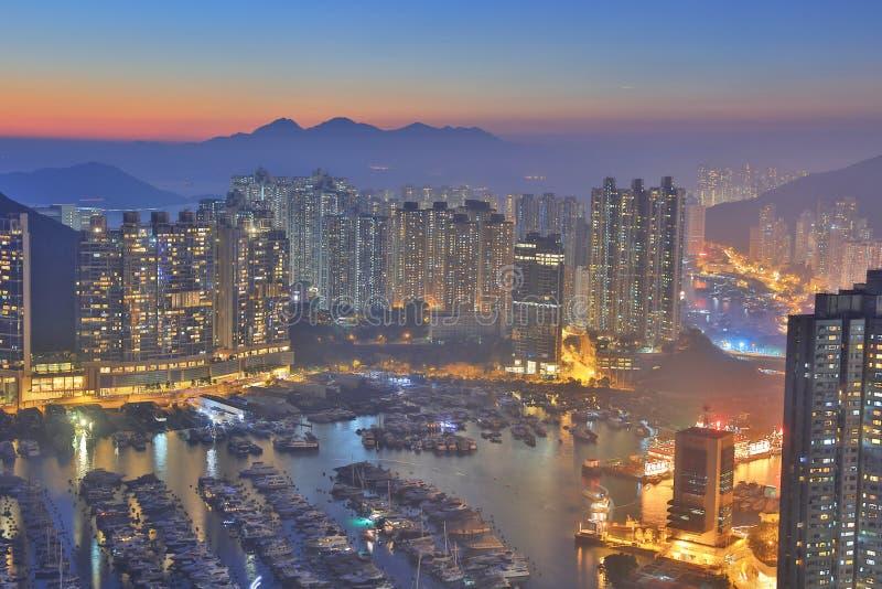 Ap Lei Chau på solnedgången fotografering för bildbyråer