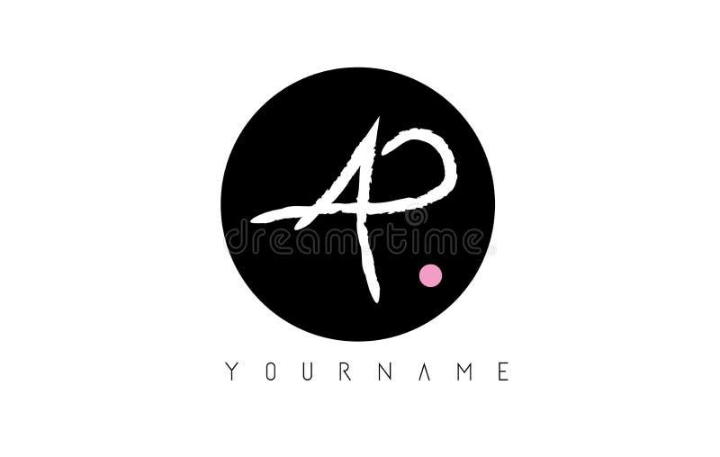 AP P Ręcznie pisany Oczyszczony Listowy logo z Kółkowym Czarnym okręgiem ilustracja wektor