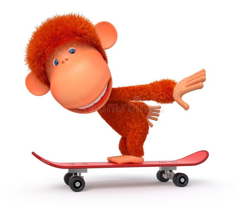 apa 3d på en skateboard royaltyfri illustrationer