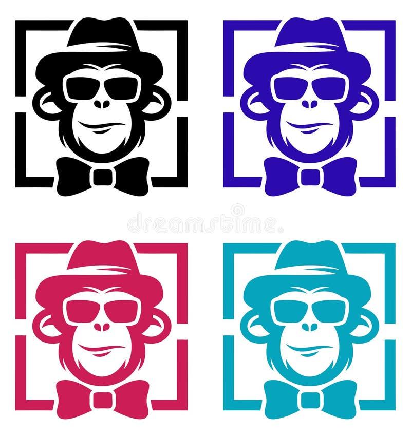 Apa med hatten Logo Design Illustration stock illustrationer
