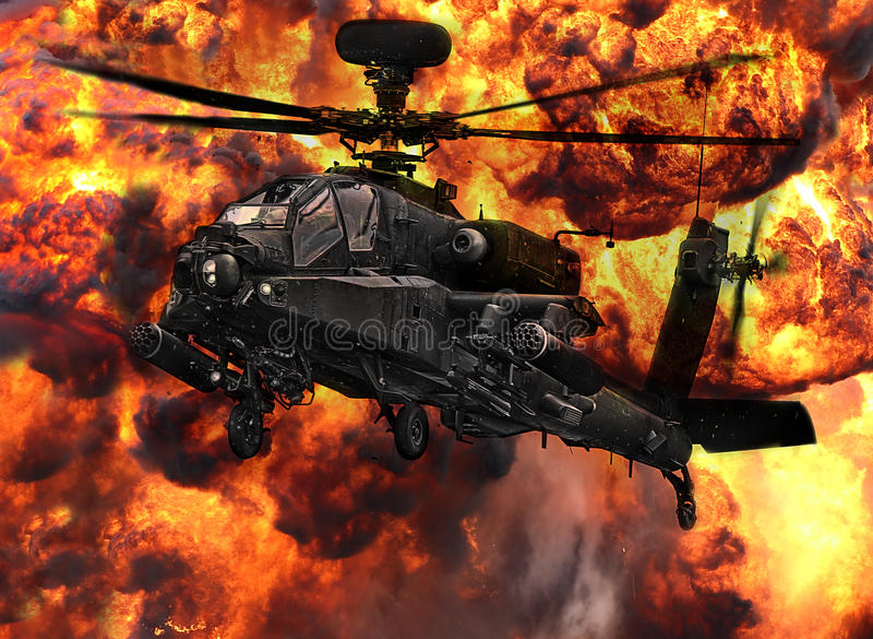 Apache gunship helicopter explosion. Apache attack gunship helicopter with huge war explosion