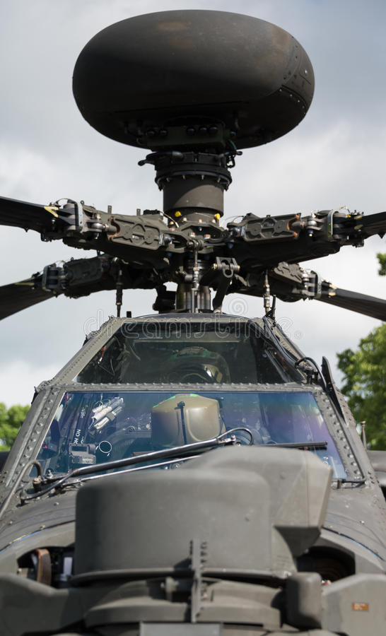 Apache helicopter. Duxford,UK - 25 May 2014: An Apache helicopter at Duxford D-Day Airshow stock photography